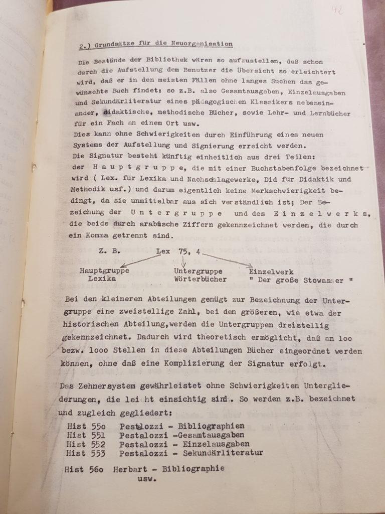Entwurf Dr. Gerhard Wehles zur Neuordnung der Bibliothek des Pädagogischen Seminars vom März 1957, Seite 2. Quelle: Universitätsarchiv Göttingen, Kur. 1265, 42.