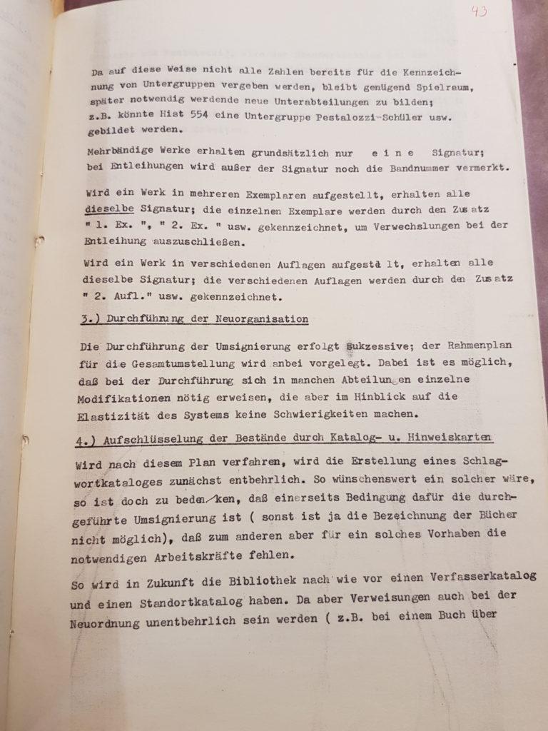Entwurf Dr. Gerhard Wehles zur Neuordnung der Bibliothek des Pädagogischen Seminars vom März 1957, Seite 3. Quelle: Universitätsarchiv Göttingen, Kur. 1265, 43.