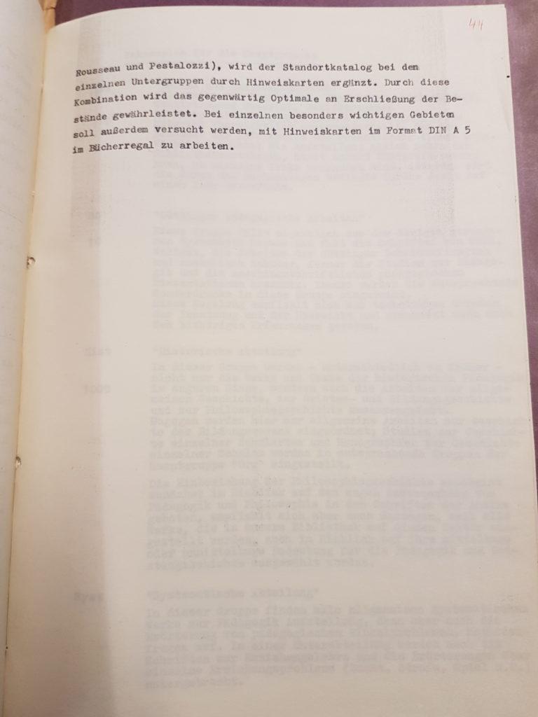 Entwurf Dr. Gerhard Wehles zur Neuordnung der Bibliothek des Pädagogischen Seminars vom März 1957, Seite 4. Quelle: Universitätsarchiv Göttingen, Kur. 1265, 44.