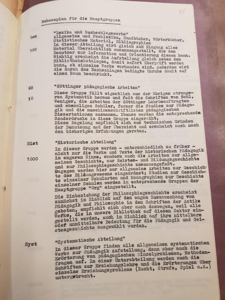 Entwurf Dr. Gerhard Wehles zur Neuordnung der Bibliothek des Pädagogischen Seminars vom März 1957, Seite 5. Quelle: Universitätsarchiv Göttingen, Kur. 1265, 45.