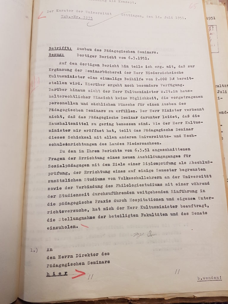 Ablehnung des personellen und räumlichen Ausbaus des Pädagogischen Seminars, Studiengänge des Pädagogischen Seminars