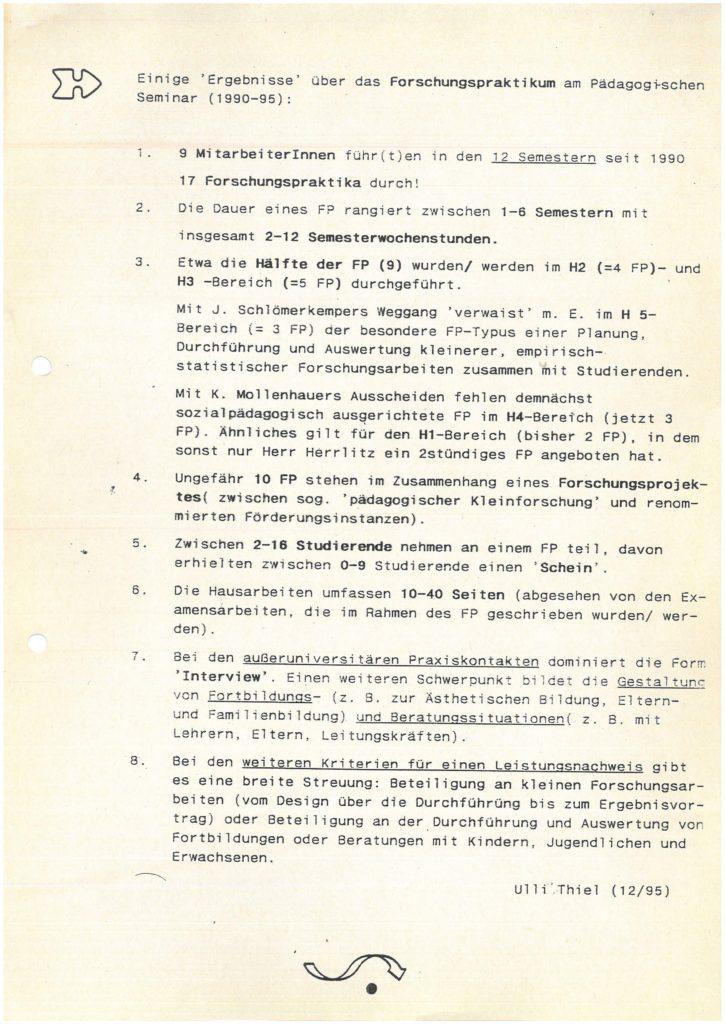 Ausgewählte Ergebnisse über Forschungspraktika am Pädagogischen Seminar in den Jahren 1990-1995
