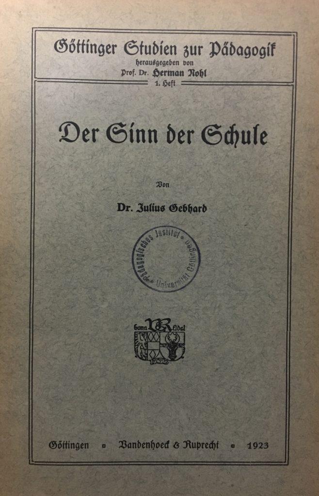 1. Heft der Göttinger Studien 1923