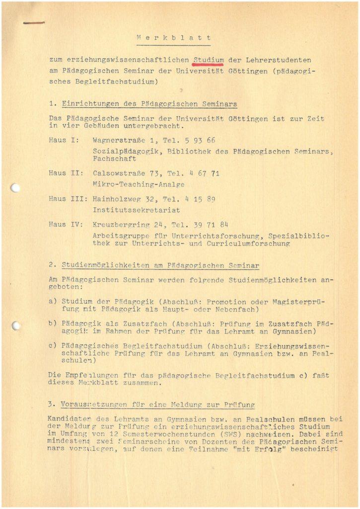 Merkblatt zum erziehungswissenschaftlichen Studium der Lehramtsstudenten am Pädagogischen Seminar der Universität Göttingen (pädagogisches Begleitfach)