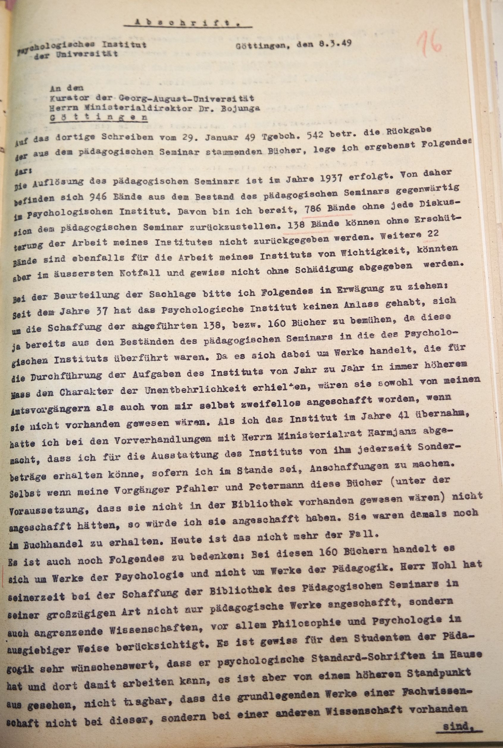 Brief von Alleschs vom 08.03.1949 an den Kurator der Universität, betreffend die Rückgabe der Bücher des Psychologischen Instituts an das Pädagogische Seminar, Seite 1. Quelle: Universitätsarchiv Göttingen, Kur. 1264, 16 (VS).
