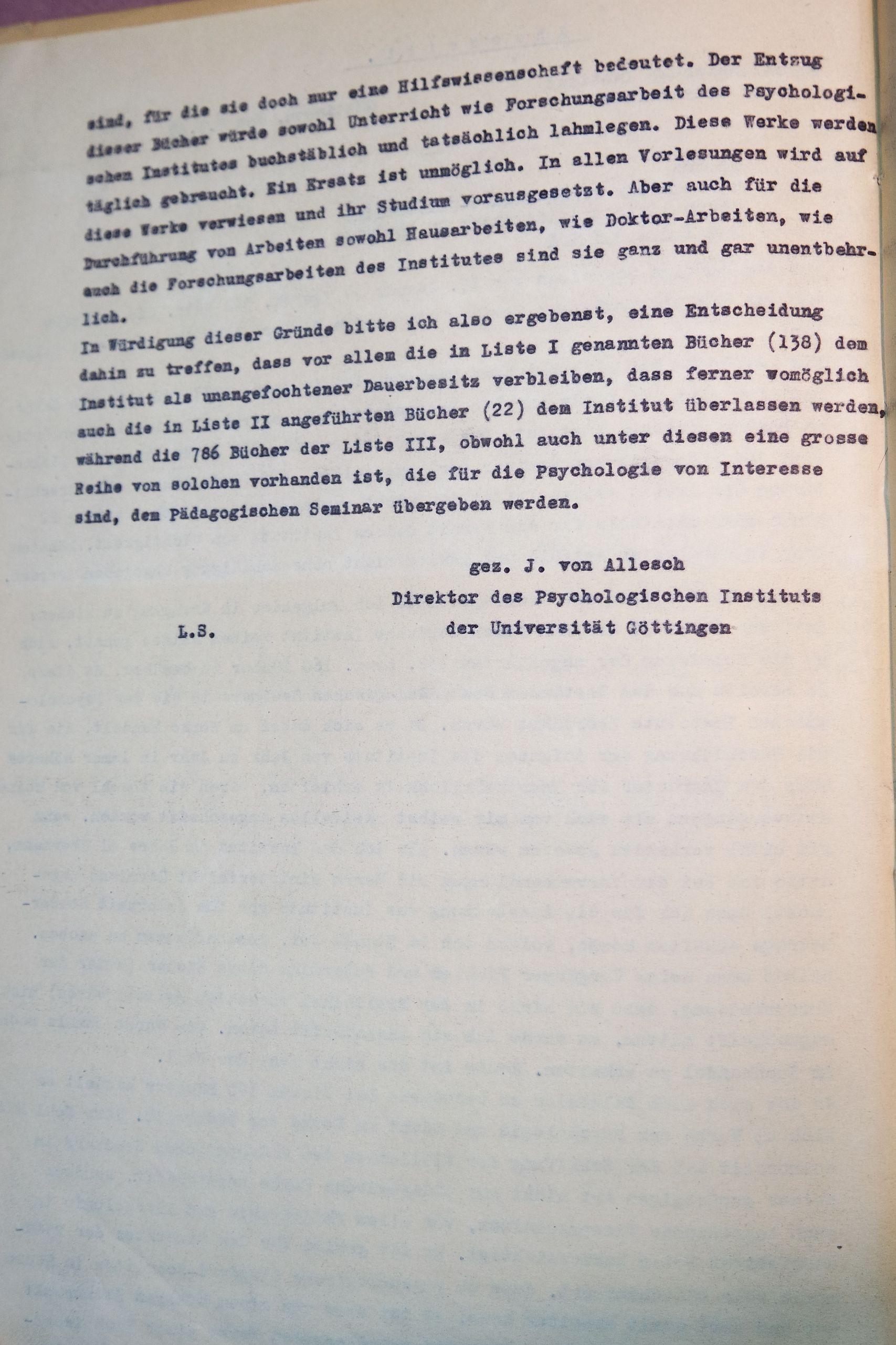Brief von Alleschs vom 08.03.1949 an den Kurator der Universität, betreffend die Rückgabe der Bücher des Psychologischen Instituts an das Pädagogische Seminar, Seite 2. Quelle: Universitätsarchiv Göttingen, Kur. 1264, 16 (RS).