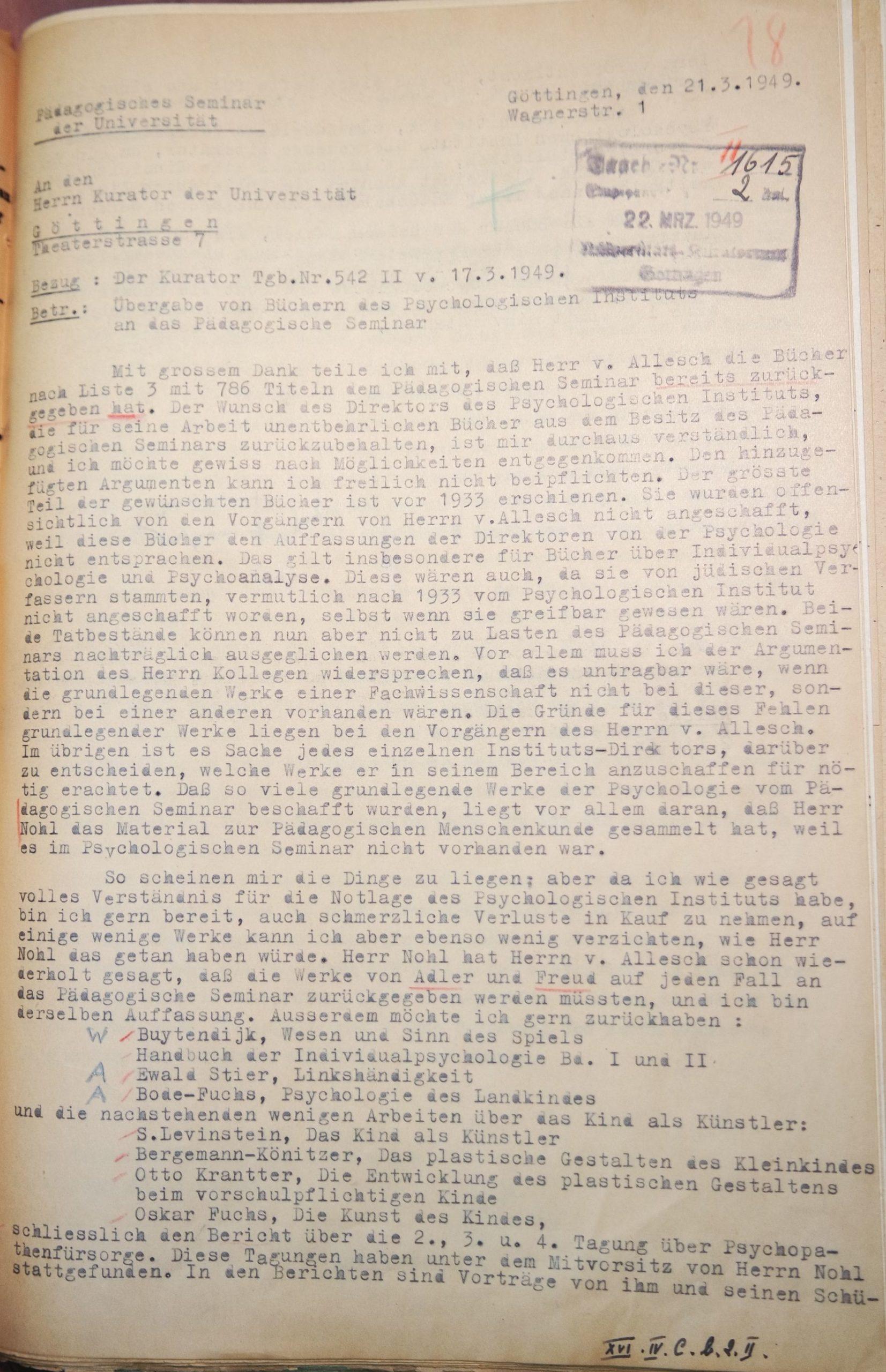 Brief Erich Wenigers vom 21.03.1949 an den Kurator der Universität, betreffend die Übergabe der Bücher des Psychologischen Instituts, Seite 1. Quelle: Universitätsarchiv Göttingen, Kur. 1264, 18 (VS).